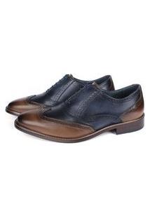 Sapato Masculino Oxford Vulcano Em Couro Elba Blue/Tan Savelli