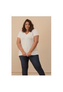 Camiseta Decote V Evasê Plus Size Off White-48/50
