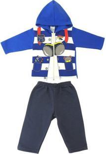 Conjunto Jaqueta E Calça Infantil Teddy Masculino - Masculino-Azul