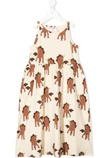 Mini Rodini Vestido Regata Com Estampa De Unicórnio - Neutro