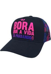 Boné Trucker Bora Floral - Feminino-Pink+Roxo