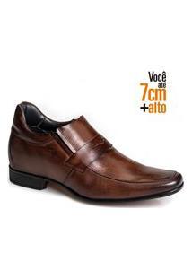 Sapato Social Couro Rafarillo Masculino Conforto Salto 7Cm Mogno