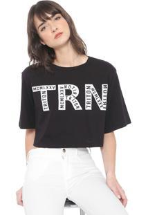 Camiseta Cropped Triton Lettering Preta