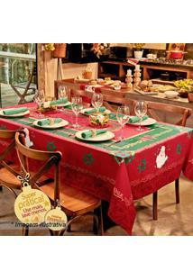 Lepper Toalha De Mesa Estampada Natal Vermelha & Verde 250X155Cm