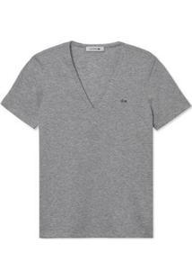 Camiseta Lacoste Gola V - Feminino-Cinza