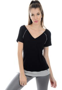 Camiseta Manga Curta Pinyx Shine Preto E Cinza - Kanui