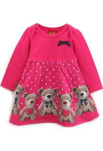 Vestido Kyly Infantil Ursos Rosa