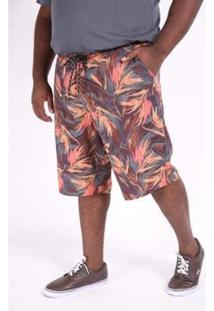 Bermuda Kauê Plus Size Estampada Elastano Masculina - Masculino-Laranja