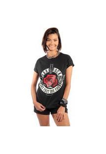 Camiseta Feminina Mirat Hard Rock Preto