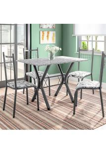 Conjunto De Mesa Miame Com 4 Cadeiras Lisboa Preto E Branco Floral