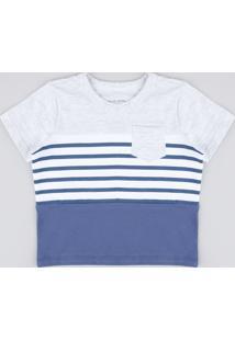 Camiseta Infantil Com Listras E Bolso Manga Curta Cinza Mescla Claro