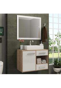 Armário De Banheiro 1 Porta 2 Gavetas Gb02 Caravalho/Branco - Pnr Móveis