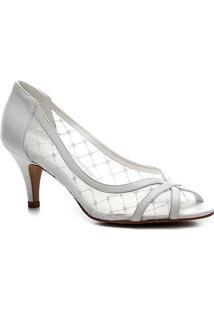 Peep Toe Couro Shoestock Noiva Tela - Feminino-Branco