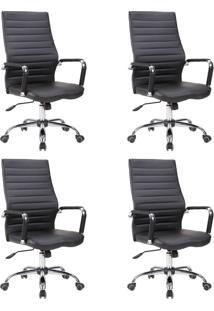 Conjunto Com 4 Cadeiras De Escritório Diretor Cleaner Preto