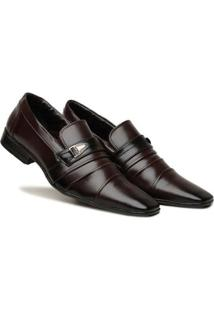 Sapato Social Masculino Elástico Metal Leve Macio Dia A Dia - Masculino-Marrom