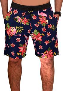 Bermuda Estampada Floral Microfibra C/ Elastano Bolsos Laterais Ref39313