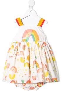 Stella Mccartney Kids Vestido Com Estampa De Arco-Íris - Branco