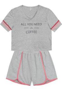 Pijama Manga Curta Estampado Hering Feminino - Feminino