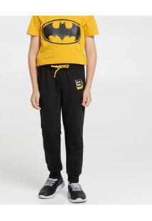 Calça Infantil Moletom Bordado Batman Liga Da Justiça