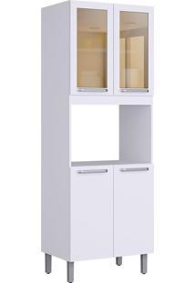 Paneleiro 4 Portas 2 De Vidro Com Lugar Para Forno Cacau Branco - Itatiaia