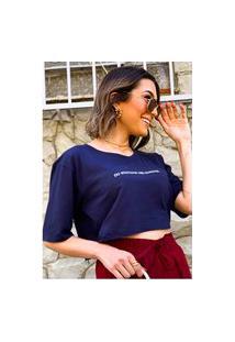 Camiseta Cropped Feminina Under79 Azul Marinho Frases