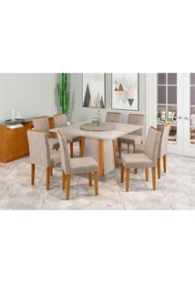 Conjunto De Mesa De Jantar Com Tampo Giratório Júlia E 6 Cadeiras Caroline Animalle Off White E Cinza