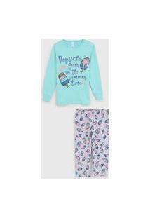 Pijama Malwee Liberta Longo Infantil Lettering Verde/Cinza