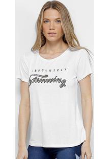 Camiseta Facinelli Estampada Feminina - Feminino-Branco