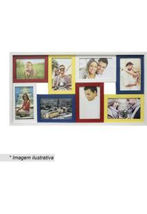 Kapos Painel Para 8 Fotos Branco & Amarelo 31X61X6Cm
