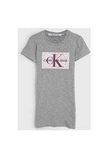 Vestido Calvin Klein Kids Infantil Logo Cinza
