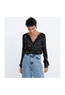 Camisa Manga Longa Em Viscose Estampa Constelação Lastex No Ombro E No Punho | Marfinno | Preto | G