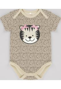 Body Tigresa Estampado Animal Print Em Algodão + Sustentável Bege