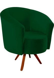 Poltrona Decorativa Angel Suede Verde Com Base Giratória Madeira - D'Rossi