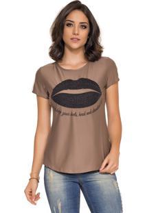 Camiseta Rosa K Mouth Estampa Marrom
