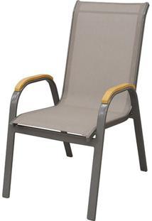 Cadeira Juquei Com Bracos Tela Bege Base Marrom - 38724 - Sun House