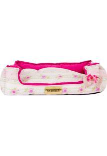 Cama Retangular Floral- Pink Rosa Claro- 17X60X50C4 Patas