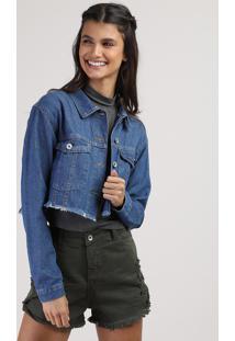 Jaqueta Jeans Juvenil Cropped Com Barra Desfiada Azul Escuro
