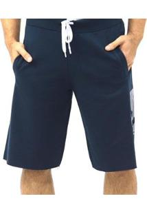 Bermuda Moletom Elástico Bolsos Masculina - Masculino-Azul Escuro