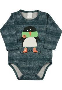 Body Bebê Malhão Ceramic Estampado Pinguim Ano Zero - Masculino-Verde