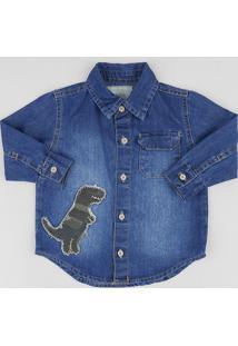 Camisa Jeans Infantil Com Dinossauro Manga Longa Azul Médio