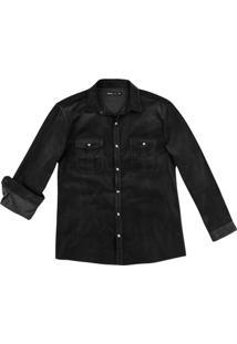 Camisa Masculinamanga Longa Em Veludo Cotelê