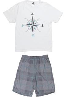 Pijama Curto Infanto Juvenil Para Menino - Off White