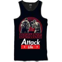 55010d78ad70e Camiseta Regata Attack Life Lutas E Musculação Boxe Lutando Sublimada Azul  Marinho