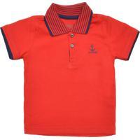 81a2a140b8 Camisa Polo Alakazoo Menino Liso Vermelha