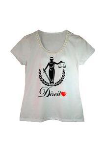Camiseta Bordada Estampa Direito Branca Calupa