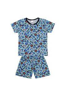 Conjunto Pijama Menino Em Meia Malha Verde Claro Rotativo De Máquinas - Liga Nessa