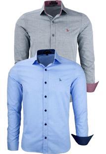Kit 2 Camisas Social Amil Tecido Pontilhado 1642 Azul Bebê/Preto - Kanui