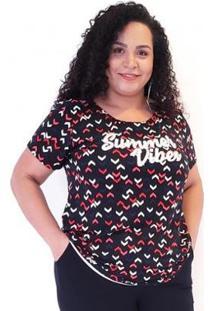 Camiseta Viscolycra Preto Estampa Geométrica Plus For You Feminina - Feminino-Preto