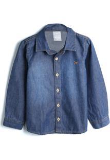 Camisa Jeans Hering Kids Menino Lisa Azul-Marinho