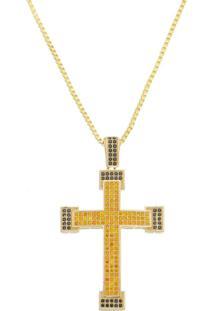 Gargantilha Cruz Com Zircônias E Corrente Veneziana Tudo Joias Folheada A Ouro 18K Dourada